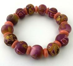 Viva Beads Handmade Clay Pink Beaded Stretch Bracelet - $18.99