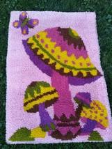Vintage Completed Mushroom MCM Latch Hook Rug Wall Art 60s Shag Psychede... - $94.05