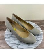 Michael Kors Arabella Beige Suede Rhinestone Block Heel Pumps Womens Size 8 - $39.95