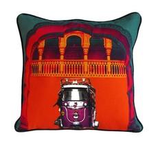 Fatfatiya Cotton Canvas & Poly Dupion Multicolor Green Gateway Cushion C... - $35.00