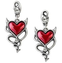 Naughty Love - Red Devil Heart and Tail Crystals Earrings Alchemy Gothic... - $47.95