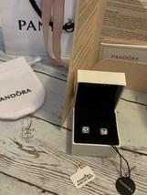 100% Authentic PANDORA Real Fine 14K Gold Sparkle Halo Stud Earrings 250327CZ - $336.60