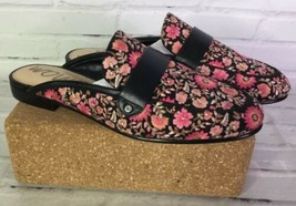 Sam Edelman Perri Womens 6 Black Pink Floral Leather Loafers Flats Mules Shoes - $128.69