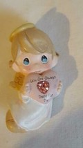 """1.75""""VINTAGE Precious Moments Angel Pink Heart Brooch Pin,Resin,Always There - $4.94"""