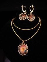 Vintage Venetian foil necklace / matching Earrings / vintage Demi Parure... - $95.00