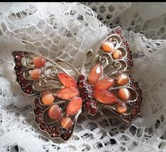 Butterfly Brooch LC Signed Liz Claiborne Vintage Rhinestone Jewelry - $21.99