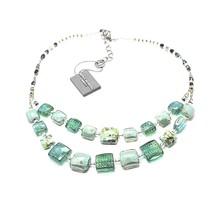 NECKLACE ANTICA MURRINA VENEZIA WITH MURANO GLASS GREEN GOLD BEIGE CO876A08 - $108.99