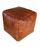 MOROCCAN LEATHER POUF Cube Pouf Ottoman Square Moroccan Pouf Natural Da... - $78.21