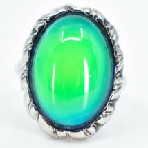 Classic Silver Tone Oval Cabochon Color Changing Adjustable Mood Ring image 5