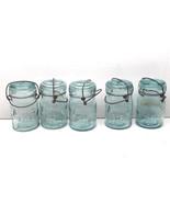 5 Vintage Atlas Canning Jars Pint Aqua Green Glass E-Z Seal #9 + #5 w/ W... - $42.06