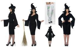 Womens Plus Size Curves Witch Fancy Dress & Free Holdups L-XXXL Halloween Party  - $39.23