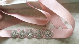 Handmade Blush Bridal Sash, Wedding Accessories, Rhinestone Sash, 2017 Wedding image 5