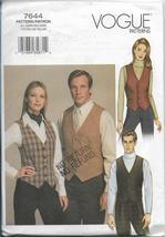 Vogue 7644 Vest, Tie Ascot, Unisex Sizes XS, S, M, L, XL, Original Pattern Uncut - $22.00