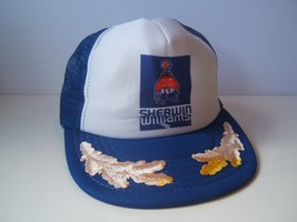 Vintage Sherwin Williams Paint Hat Blue White Snapback Trucker Cap Made USA - $30.74