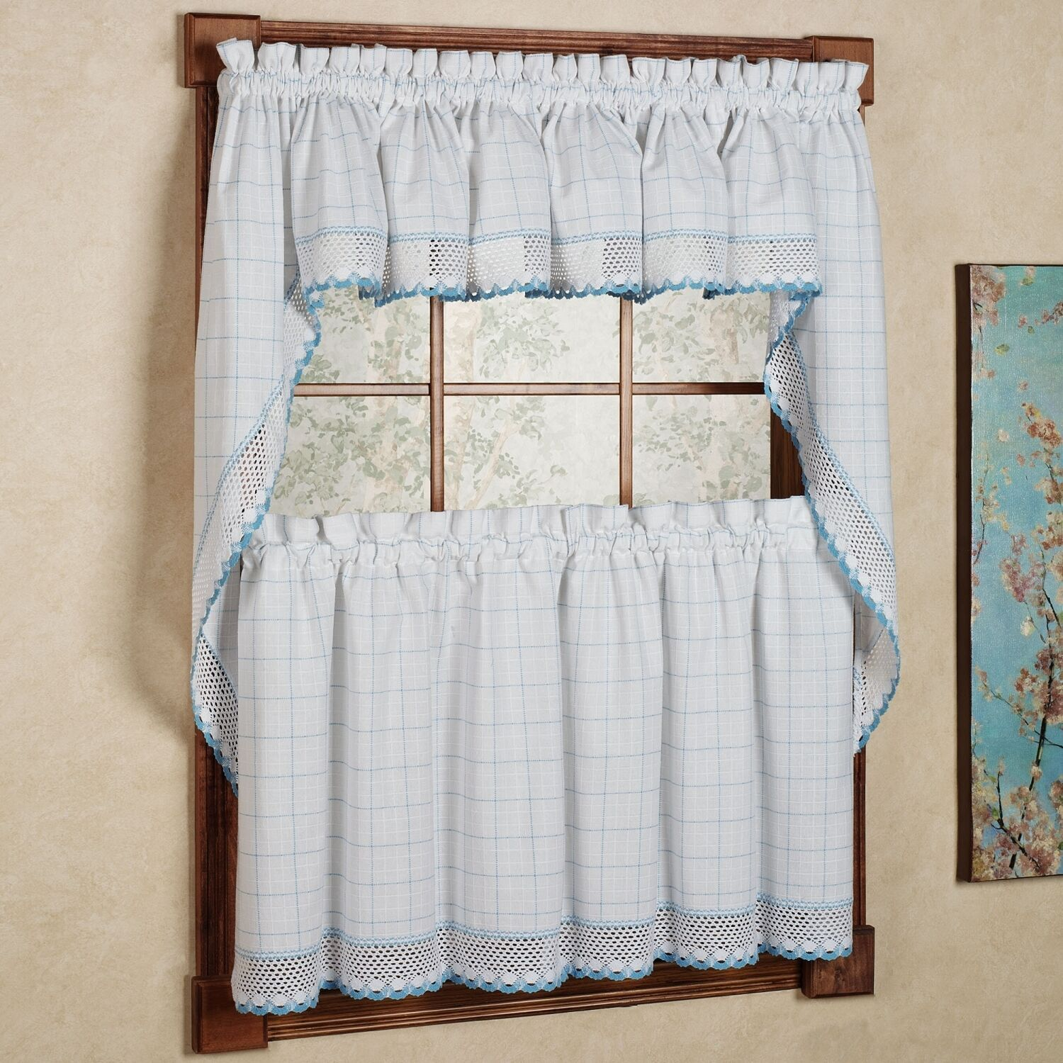 Adirondack Cotton Kitchen Window Curtains - White/Blue - Tiers, Valance or Swag - $16.69 - $18.29