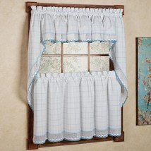 Adirondack Cotton Kitchen Window Curtains - White/Blue - Tiers, Valance ... - $15.69+