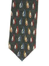 J. Z. Richards Mens Neck Tie Green With Teardrop Paisley Designs 100% Silk  - $19.79