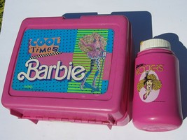 1989 Cool Times Barbie Lunchbox and Thermos Plastic Used Pink 1980s Orig... - $13.76