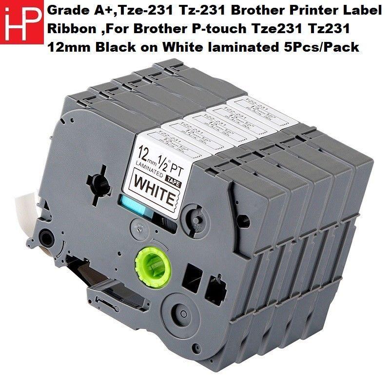 2 Pack Black Print 12mm Label Tape For Brother TZ-231 TZe-231 TZ TZe-631 PT-P700