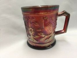 Vintage Imperial Glass Company Red Carnival Glass Robin Mug Cup 1980 IG Logo - $20.52