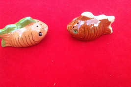 Vintage brown fish ceramic salt and pepper shakers from Mexico - $18.00