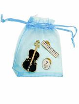 Set Mit 3 Musical Instrumente Violoncello Violine Bass Piano Violinschlüssel - $14.01
