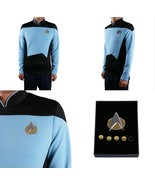 Star Trek TNG Cosplay Costume Blue Shirt Starfleet Science Uniforms + Ba... - £26.31 GBP+