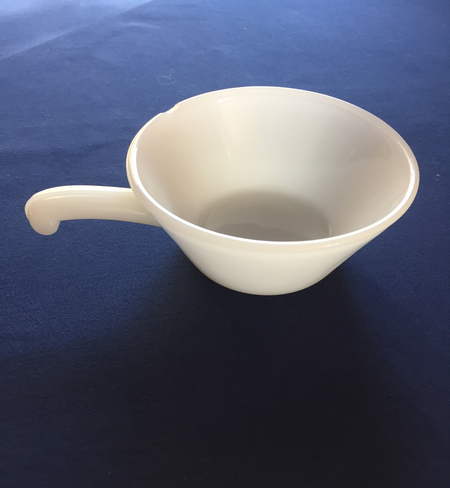 Vintage 70s Anchor Hocking Fire King white soup bowl with handle