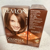 2 Revlon #51 ColorSilk Beautiful Hair Color Cover Gray Lite Brown 3-D Te... - $14.67