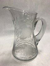 Vintage crystal cut glass PITCHER scalloped etched Mid Century serving j... - $39.59
