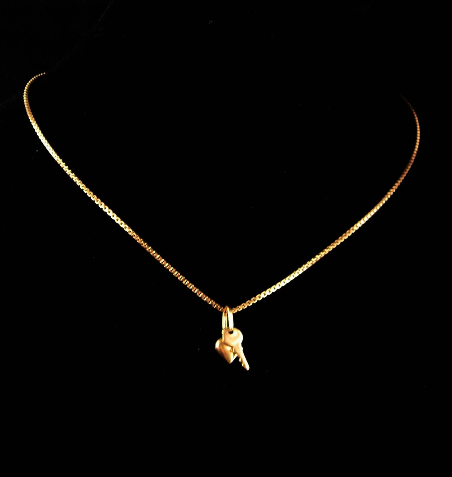 Vintage Monet Necklace - gold Heart and key charm - sweetheart jewelry - couture