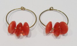 handmade gold hoop earrings with red disc beads - $9.00