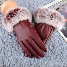 Fashion Women Gloves Rabbit Fur Lady Black Leather Autumn Winter Warm Mi... - $9.99