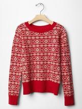 NWT $40 GAP Kids Fair Isle Crewneck Sweater Red Xmas XS S L XL 4 5 6 7 1... - $12.99