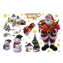 (02)2pcs Removable Shop Glass Window Stickers Santa Claus Tree Xmas Deco... - $20.00