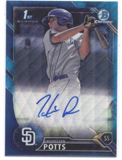 Primary image for 2016 Bowman Draft Chrome Draft Pick Autographs Refractors Blue #CDA-HS Hudson Po