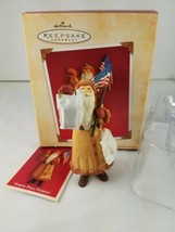 North Pole Patriot Santa Flag USA Lantern Bells Hallmark 2004 Ornament  ... - $12.82