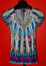 Heart Soul Short Sleeve Beaded V Neck Size M Blouse Top Blue Multi Color - $7.99
