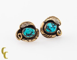 .925 Gold Tone sterling Silver Turquoise Leaf Shaped Earrings - $2.023,53 MXN