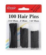 Annie 100 Hair Pins Ball Tipped Bobby Pin Hair Clips Assorted Size Black... - $4.90