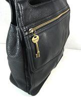 Fossil Vintage Black Leather Multi Pocket Shoulder Bag Brass Tone Hardware image 4