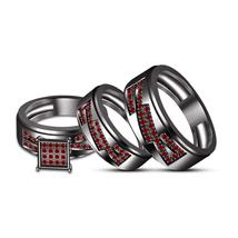 14k Black Gold Over Trio Ring Set Wedding Ladies & Men's Band Ring Free Shipping - $159.99