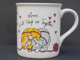 RUSS Hugs Kittens Cats Collectible Mug Love Will Keep Us Together Pink H... - $14.20