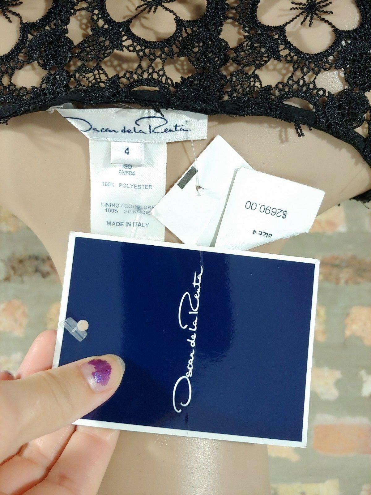 NWT Oscar De La Renta $2690 Black Bateau Neck Organza Lace Shirt Dress SZ 4