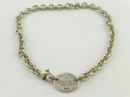 "Please Return To Tiffany & Co. Sterling Silver Choker Chain Tag Necklace - 15.5"" - $175.00"