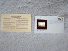 1983 Early Electric Streetcar 22Kt Gold First Day Issue Gold Replica Cov... - $7.49