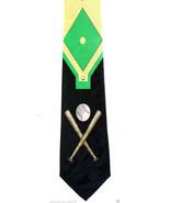 Baseball Field Men's Necktie Diamond Bat Coach Gift Team Fan Black Neck Tie - $14.85