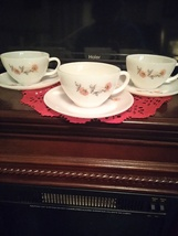 Vintage Anchor Hocking Fire King Fleurette pattern Cups And Saucers 5 Each - $30.00