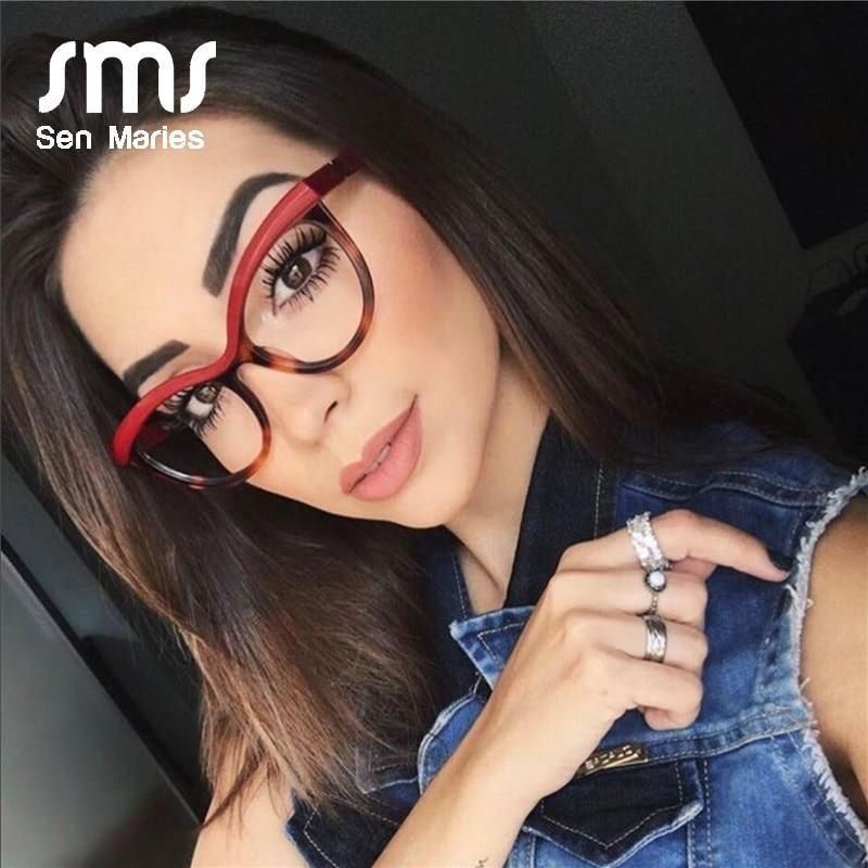 Ses frames women luxury brand designer square optical eyeglasses fashion eyewear computer lentes