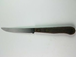 Stainless Steel Serrated Blade Knife Wood Handle - $11.51